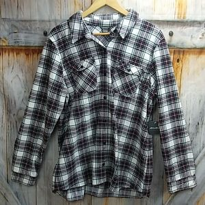 NWT EDDIE BAUER Plaid Fleece Button Up Shirt